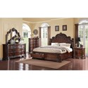 Emerald Riviera King Bed with Storage and Acanthus Leaf Detailing