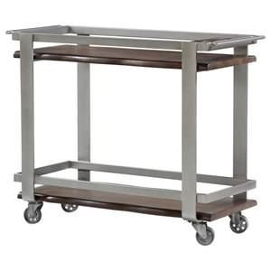 Bar Cart w/ Solid Mahogany Shelves