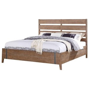 Viewpoint King Low Profile Bed with Slat Headboard and Metal Accents by Emerald