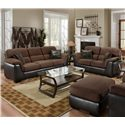 Encore E388 Upholstered Loveseat with Exposed Wood Legs - Shown With Coordinating Sofa and Ottoman