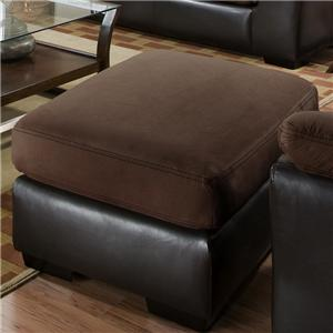 Encore E388 Casual Two-Tone Ottoman with Exposed Wood Legs