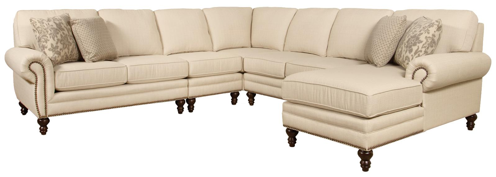 England Amix  Seven Seat Sectional with Right Chaise - Item Number: 7130-28+39+22+43+05