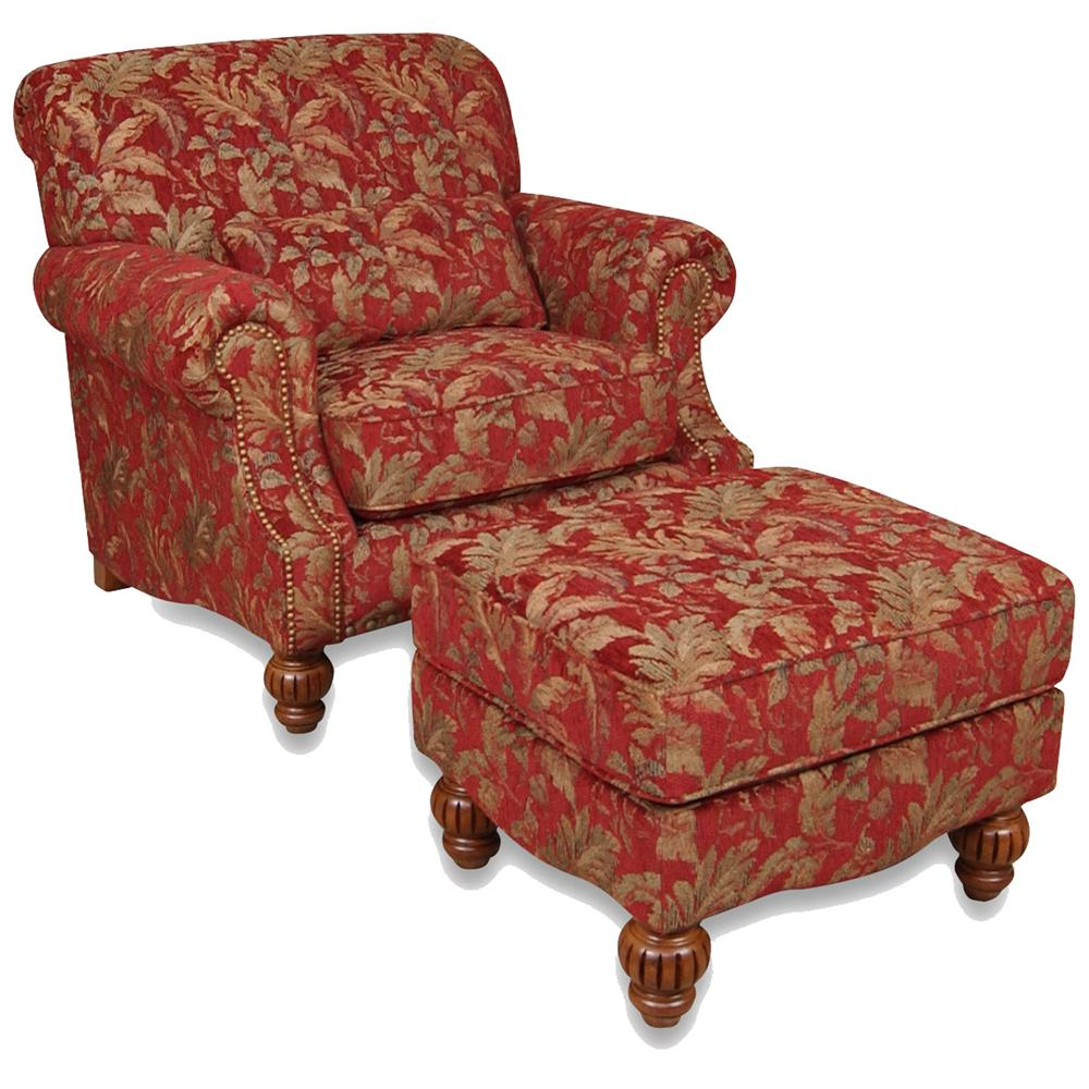 England Benwood Chair and Ottoman - Item Number: 4354+7