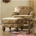 England Bill Transitional Cottage Ottoman with Decorative Wood Feet - Shown with Coordinating Collection Chair