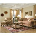 England Bill Transitional Cottage Ottoman with Decorative Wood Feet - Shown with Coordinating Collection Chair and Sofa
