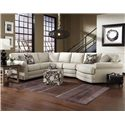 England Brantley 5 Seat Sectional Sofa Cuddler - Item Number: 5630-28+22+43+95
