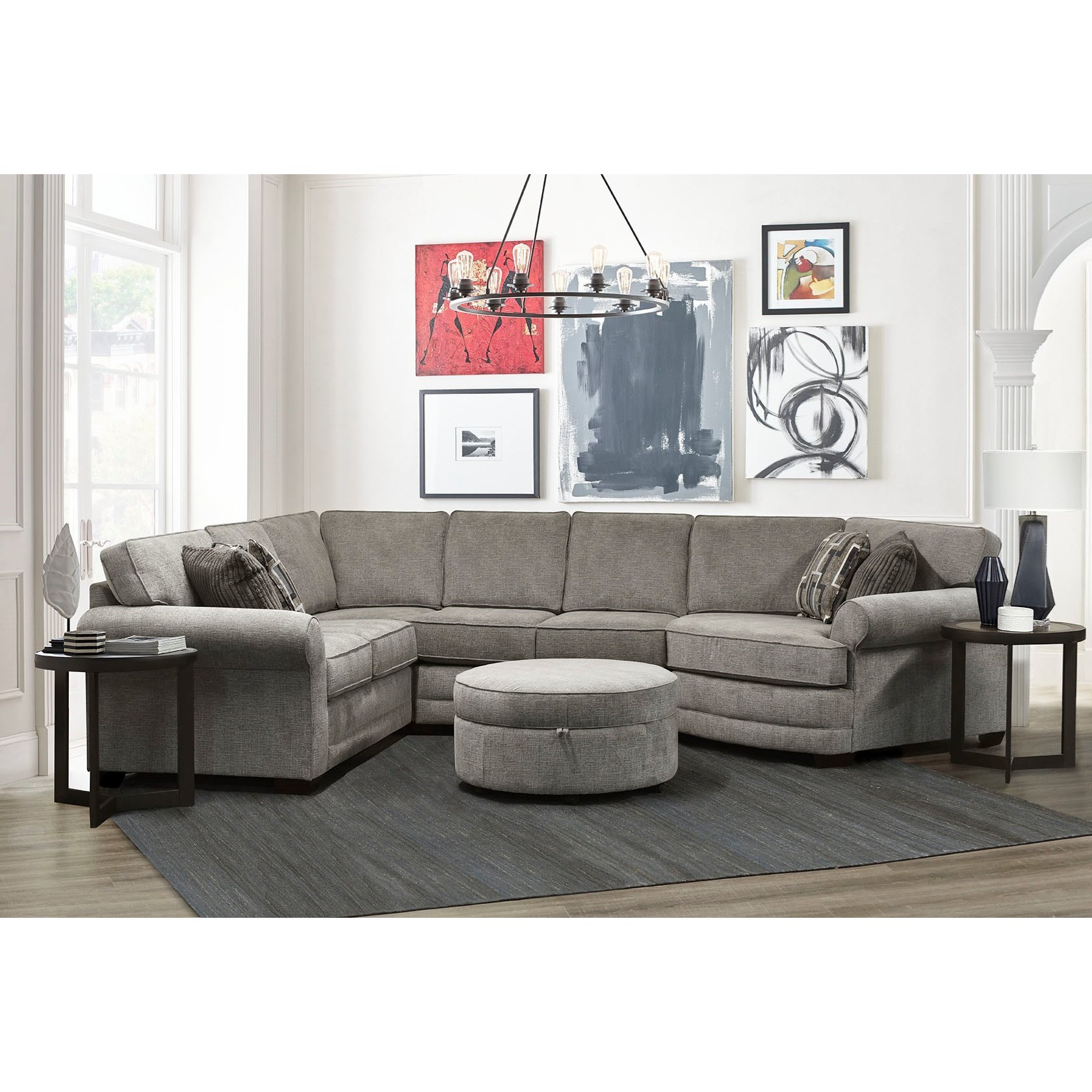 England Brantley 5 Seat Sectional Sofa with Cuddler ...