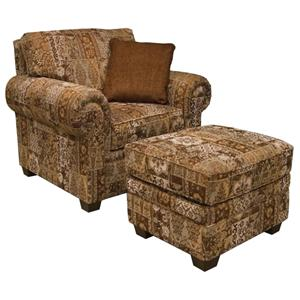 England Brett Rolled Arm Chair & Ottoman