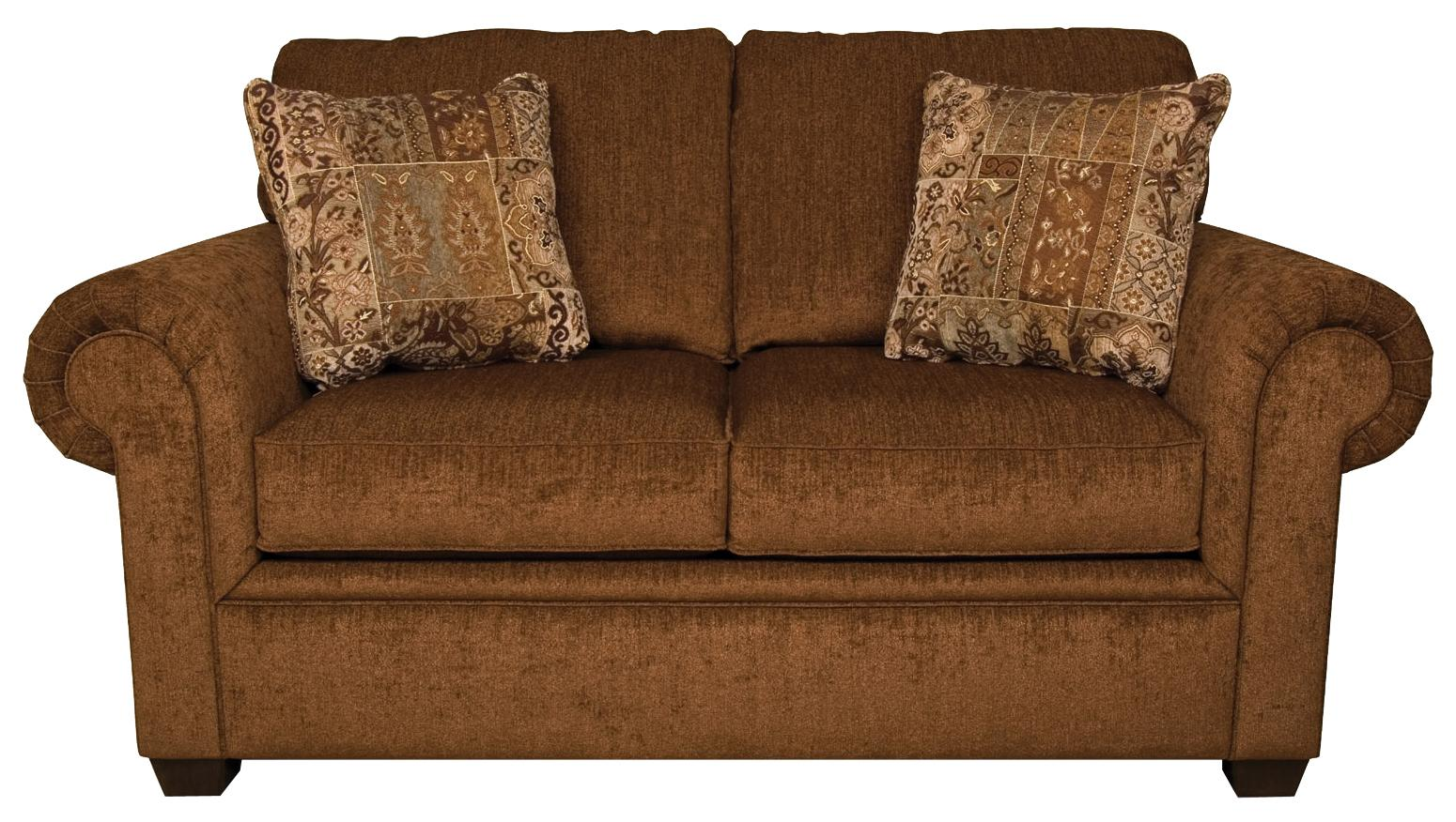 England Brett 2256 Rolled Arm Loveseat With Exposed Block