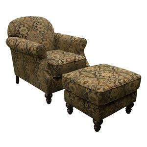 Small Scale Chair and Ottoman Set