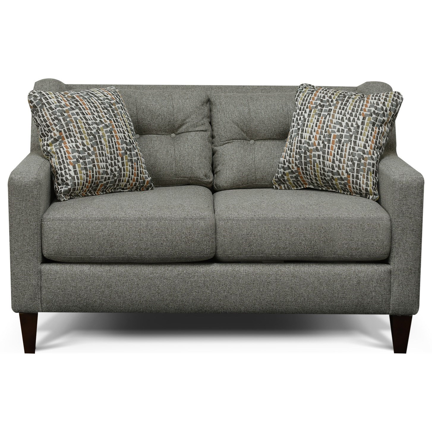 England Brody Tufted Back Loveseat - Item Number: 6L06-Brentwood-Pepper