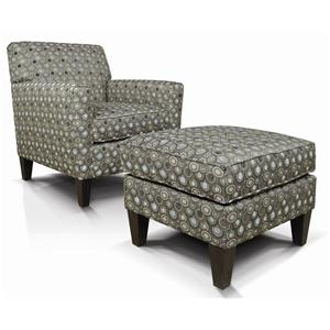 England Collegedale Upholstered Chair & Ottoman