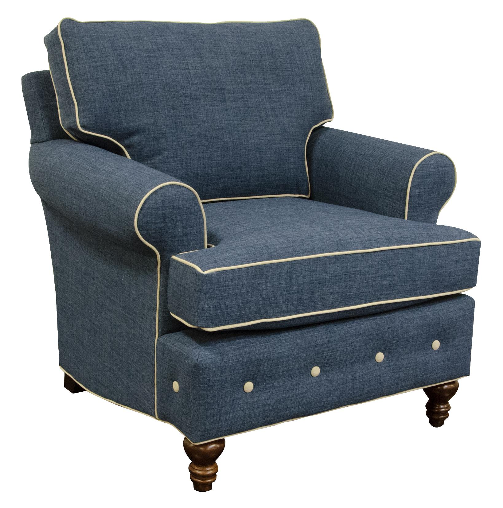 England Evans Living Room Chair - Item Number: 8484CW Roma Blue Dum Dum Natural