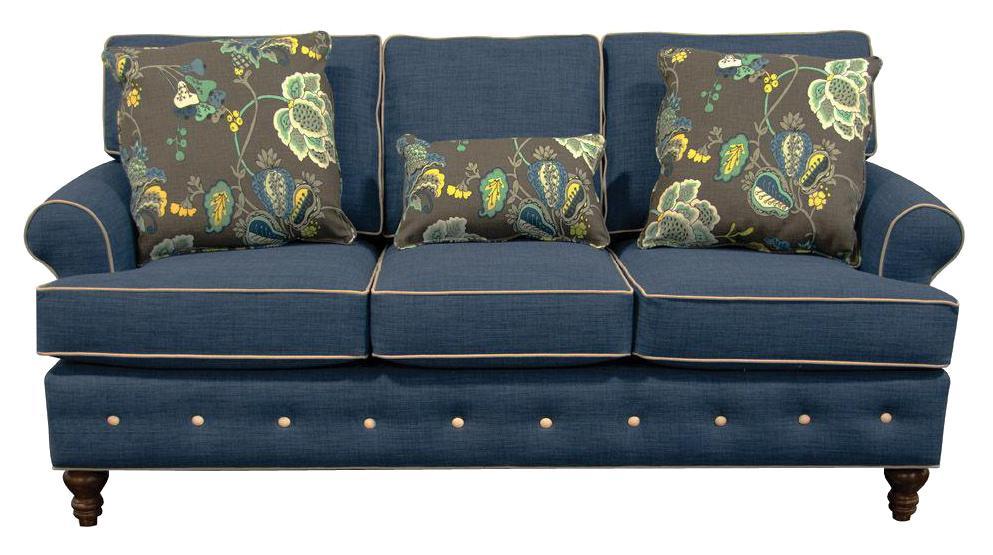 England Evans Living Room Sofa - Item Number: 8485CW Roma Blue Dum Dum Natural