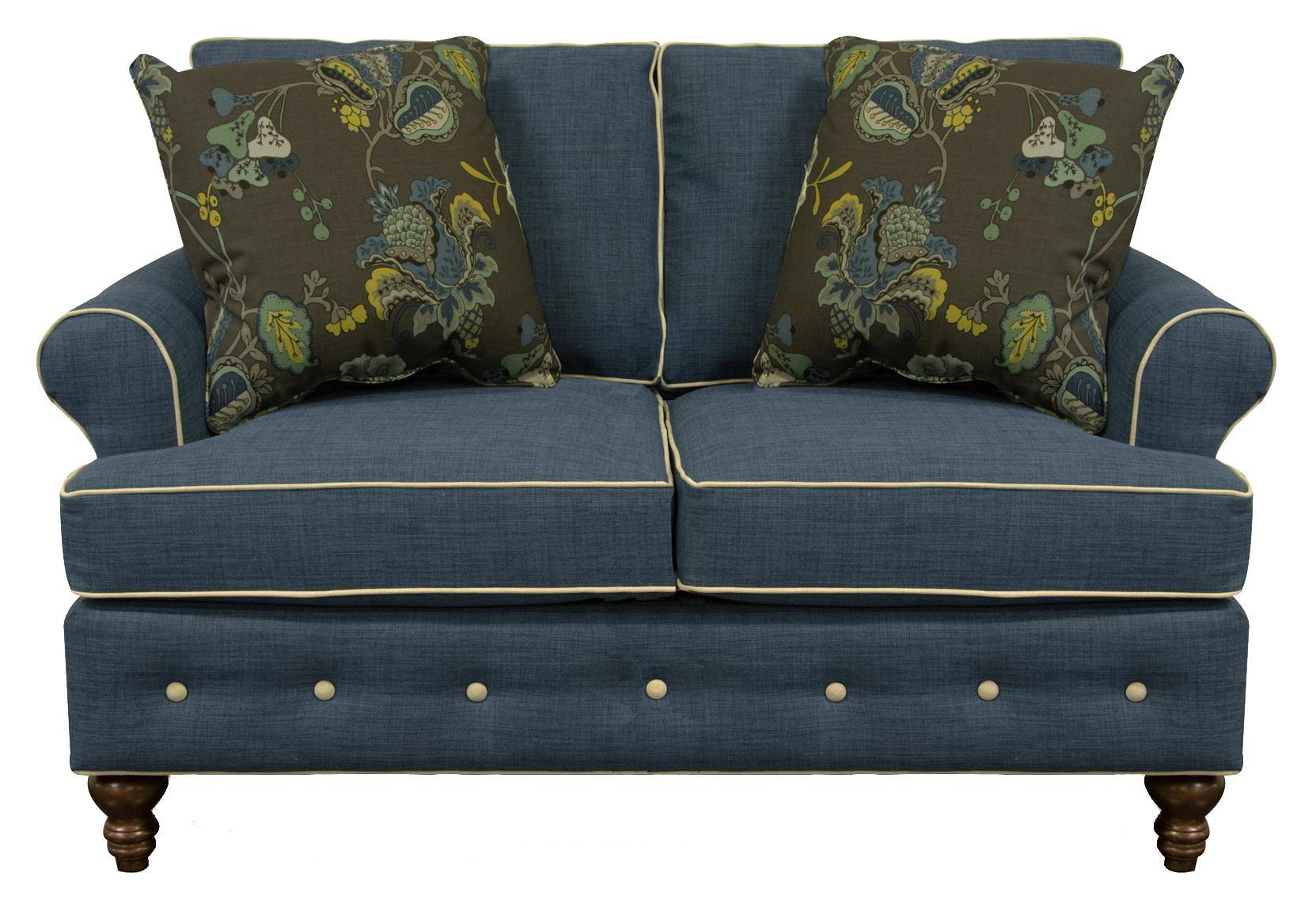 England Evans Living Room Loveseat - Item Number: 8486CW Roma Blue Dum Dum Natural