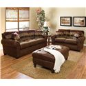 England Jaden Stationary Sofa with Large Rolled Arms - Shown in Room Setting with Matching Loveseat and Ottoman