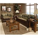 England Jaden Stationary Sofa with Large Rolled Arms - Shown in Living Room with Matching Loveseat