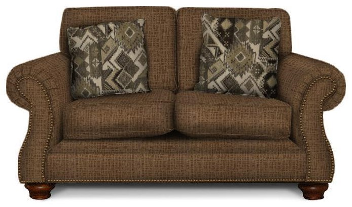 England Jeremie Two Cushion Loveseat with Nailheads - Item Number: 7236N-Vagabond-Brandy