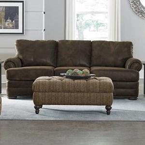 England Knox All Leather Sofa with Nailhead Trim