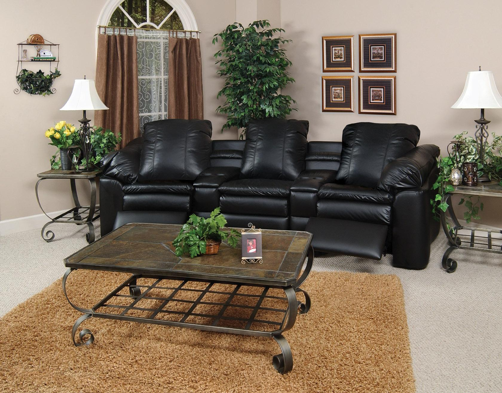 England Lackawanna 5 Piece Leather Theater Seating