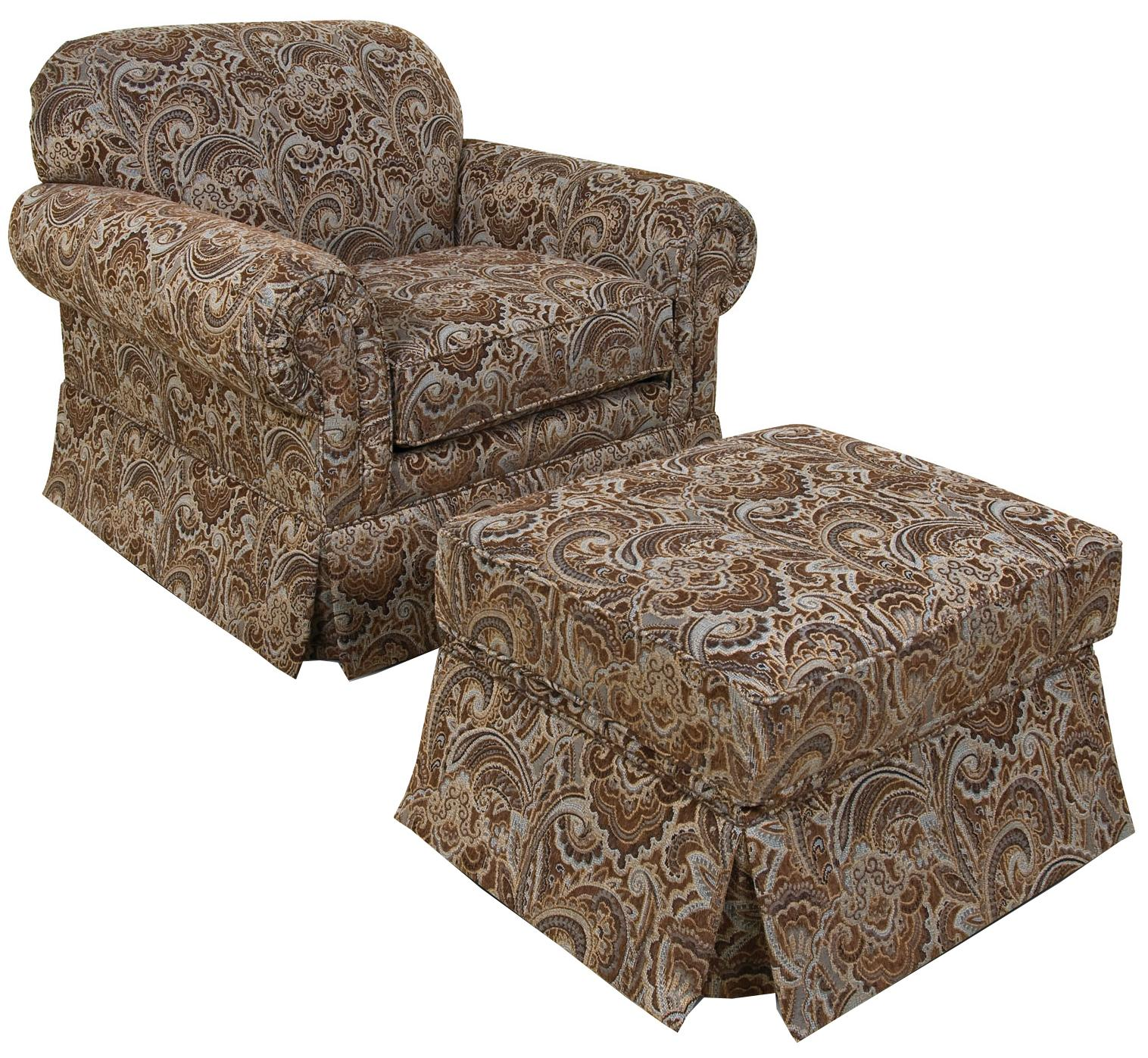 England Nancy Chair and Ottoman - Item Number: 6554+7