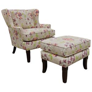 England Scarlet  Living Room Chair and Ottoman