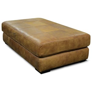 England Lasley All Leather Cocktail Ottoman