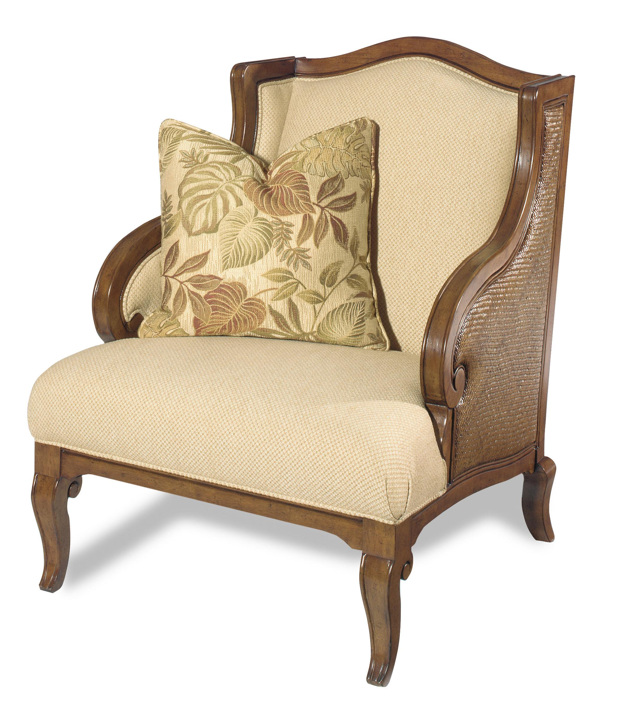 Hooker Furniture Windward Exposed Wood Wing Chair With Raffia Palm Accents    AHFA   Exposed Wood Chair Dealer Locator