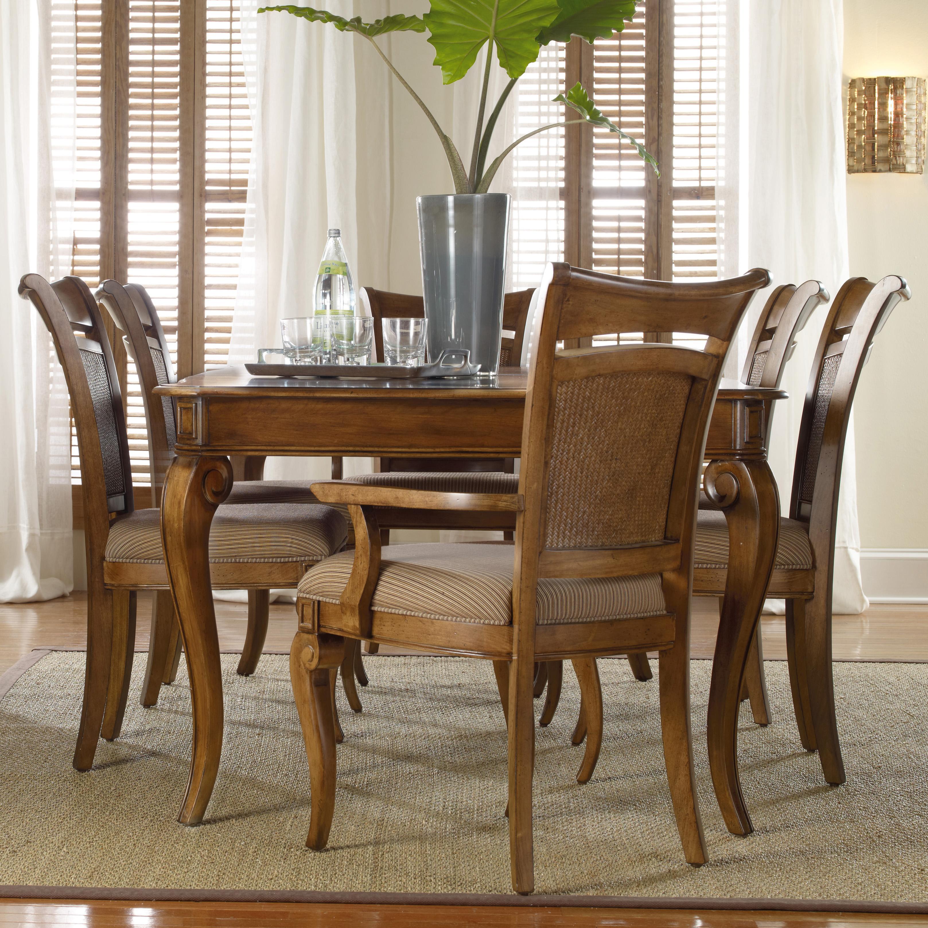 Windward Rectangular Leg Dining Table U0026 Raffia Chairs Set By Hooker  Furniture