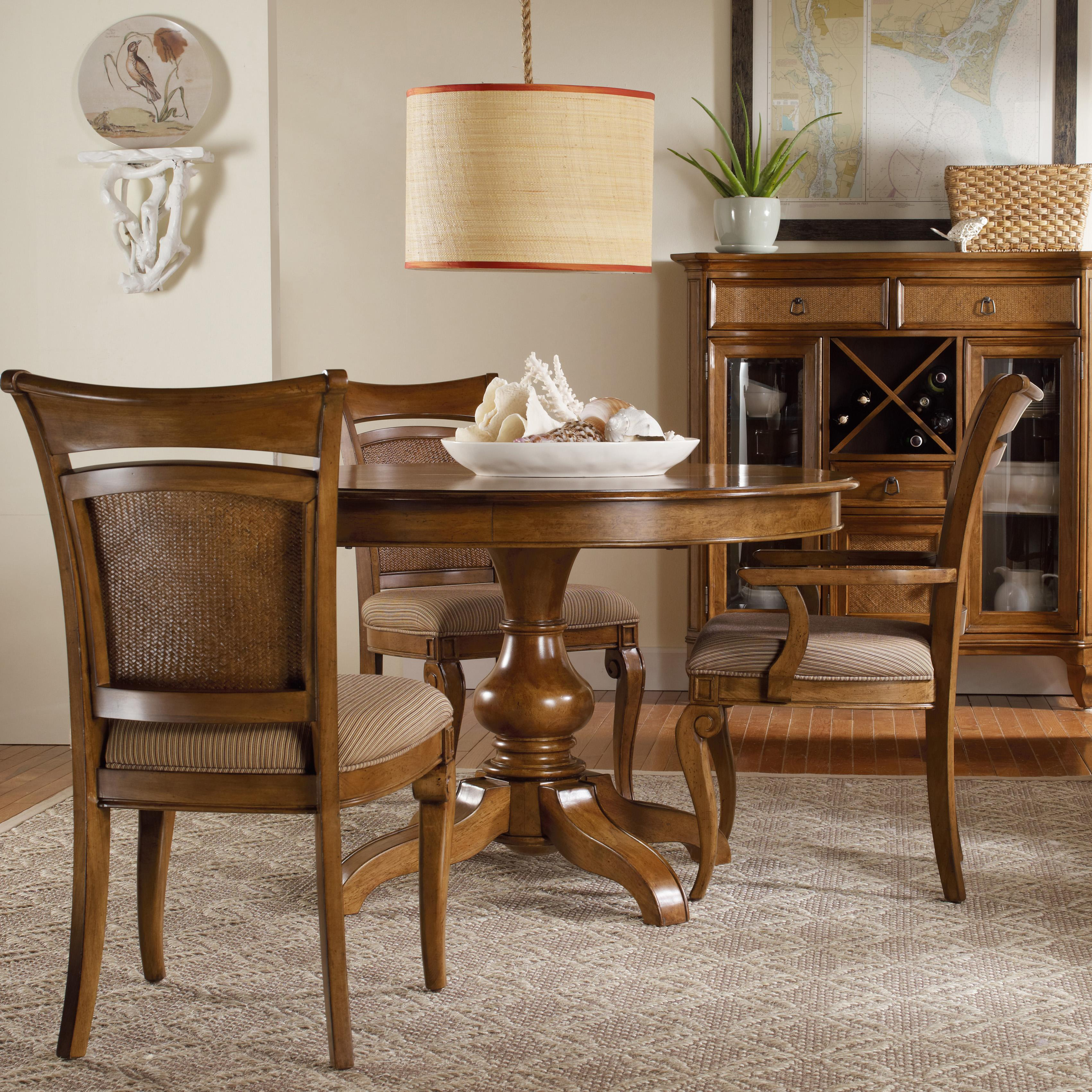 Hooker Furniture Windward Pedestal Dining Table u0026 Raffia Chairs Set - AHFA - Dining 3 Piece Set Dealer Locator & Hooker Furniture Windward Pedestal Dining Table u0026 Raffia Chairs Set ...