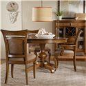Hooker Furniture Windward Pedestal Table & Chairs Set - Item Number: 1125-76203+76400+2x76410