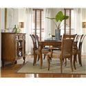 Hooker Furniture Windward Raffia Dining Side Chair with Fabric Upholstered Seat and Scrolled Foreleg - Shown with Raffia Arm Chairs, Rectangular Leg Dining Table, and Buffet