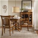 Hooker Furniture Windward Raffia Dining Side Chair with Fabric Upholstered Seat and Scrolled Foreleg - Shown with Raffia Arm Chair, Pedestal Dining Table, and Display Buffet