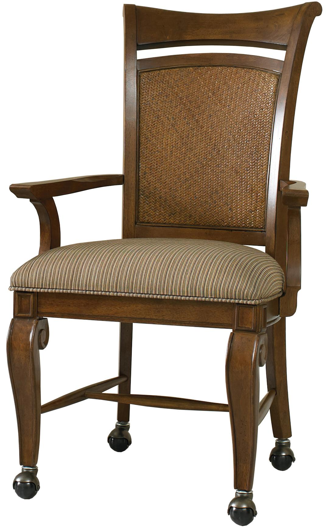 Hooker Furniture Windward Dining Arm Chair With Caster Wheel Base U0026 Woven  Panel Back Insert   AHFA   Dining Chair With Casters Dealer Locator