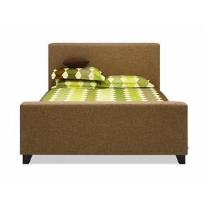 EQ3 Saga Twin Upholstered Bed w/ Wood Feet