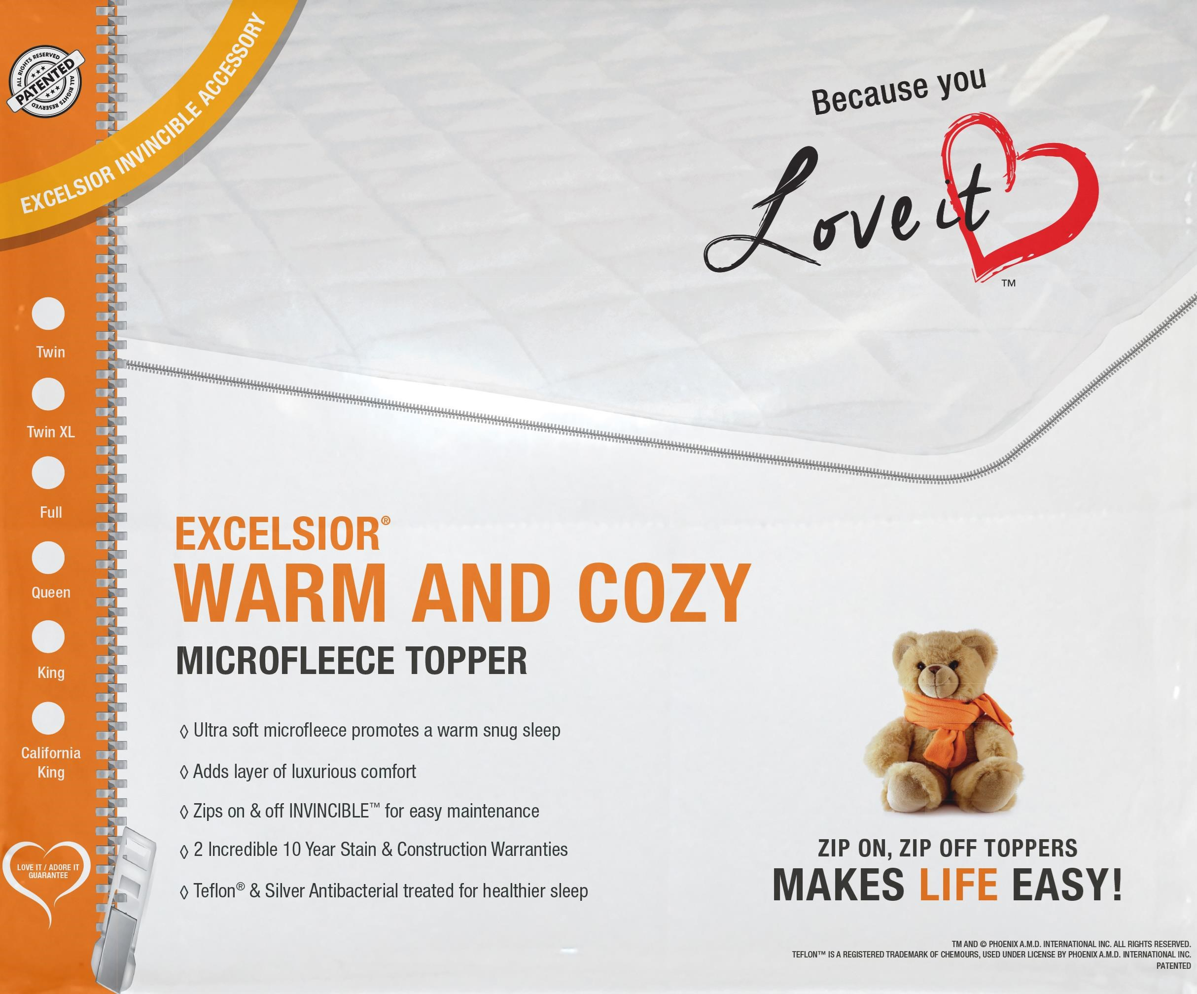 Warm & Cozy Twin XL Mattress Topper by Excelsior at SlumberWorld