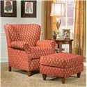 Fairfield 1403 Upholstered Wing Lounge Chair with Tapered Legs - Shown in Room Setting with Matching Ottoman