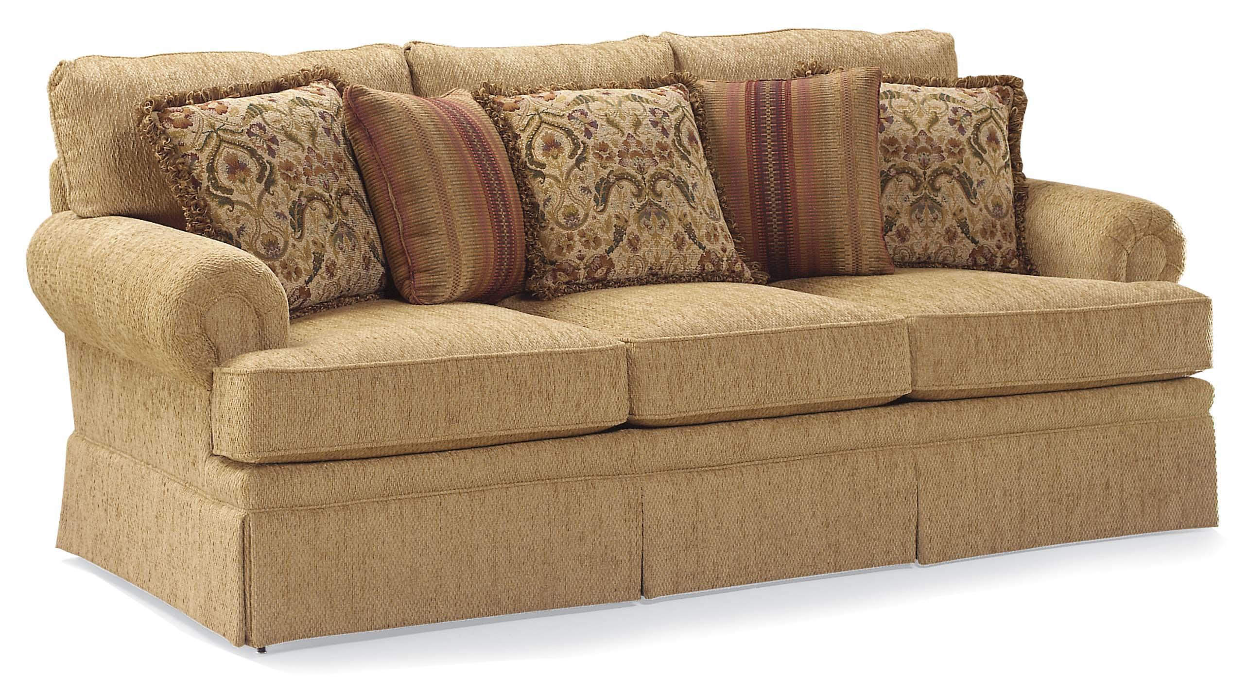 Fairfield 3736 Skirted Stationary Sofa With Loose Accent Pillows Ahfa Dealer Locator