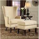 Fairfield Chairs Contemporary Wing Chair with Exposed Wood Legs - Shown with Coordinating Accent Ottoman