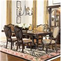 Morris Home Furnishings Grand Rapids Upholstered Side Chair w/ Shield Back - Shown with Dining Table and Arm Chairs