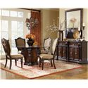 Morris Home Furnishings Grand Rapids Upholstered Side Chair w/ Shield Back - Shown in Room Setting with Round Table and Sideboard