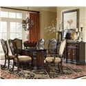 Morris Home Furnishings Grand Rapids Upholstered Arm Chair - Shown in Room Setting with Dining Table, Side Chairs and Sideboard