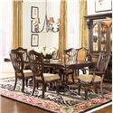 Morris Home Furnishings Grand Rapids Double Pedestal Rectangular Dining Table - Shown with Side and Arm Chairs