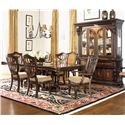 Morris Home Furnishings Grand Rapids Double Pedestal Rectangular Dining Table - Shown in Room Setting with Hutch, Arm and Side Chairs