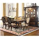 Morris Home Furnishings Grand Rapids Double Pedestal Rectangular Dining Table - Shown in Room Setting with Hutch, Upholstered Side and Arm Chairs