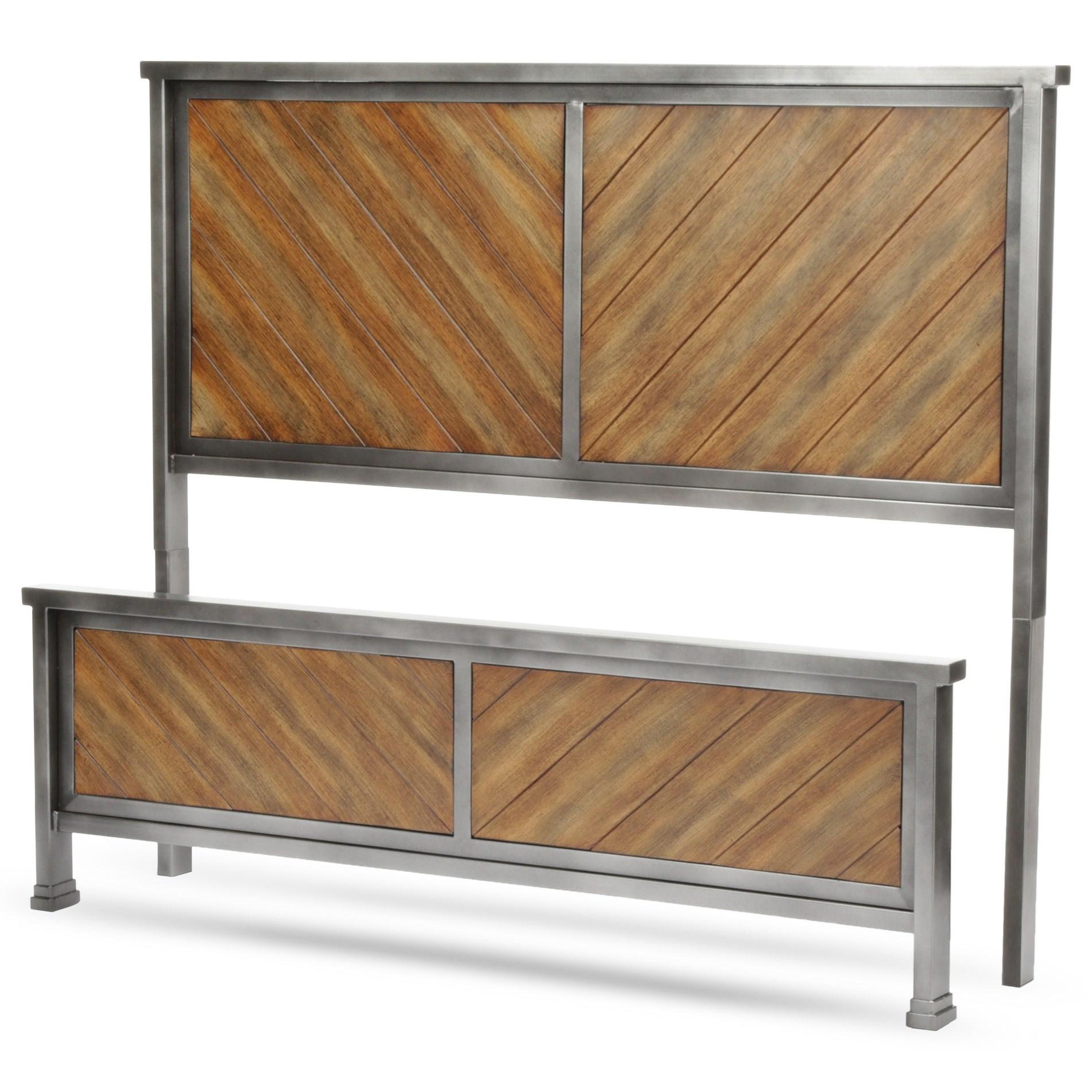 Braden California King Headboard and Footboard with Metal Panels