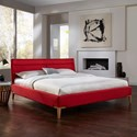 Fashion Bed Group Lakeview Queen Lakeview Complete Platform Bed with Upholstered Frame and Exposed Wood Legs