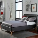 Fashion Bed Group Lakeview California King Lakeview Complete Platform Bed with Upholstered Frame and Exposed Wood Legs