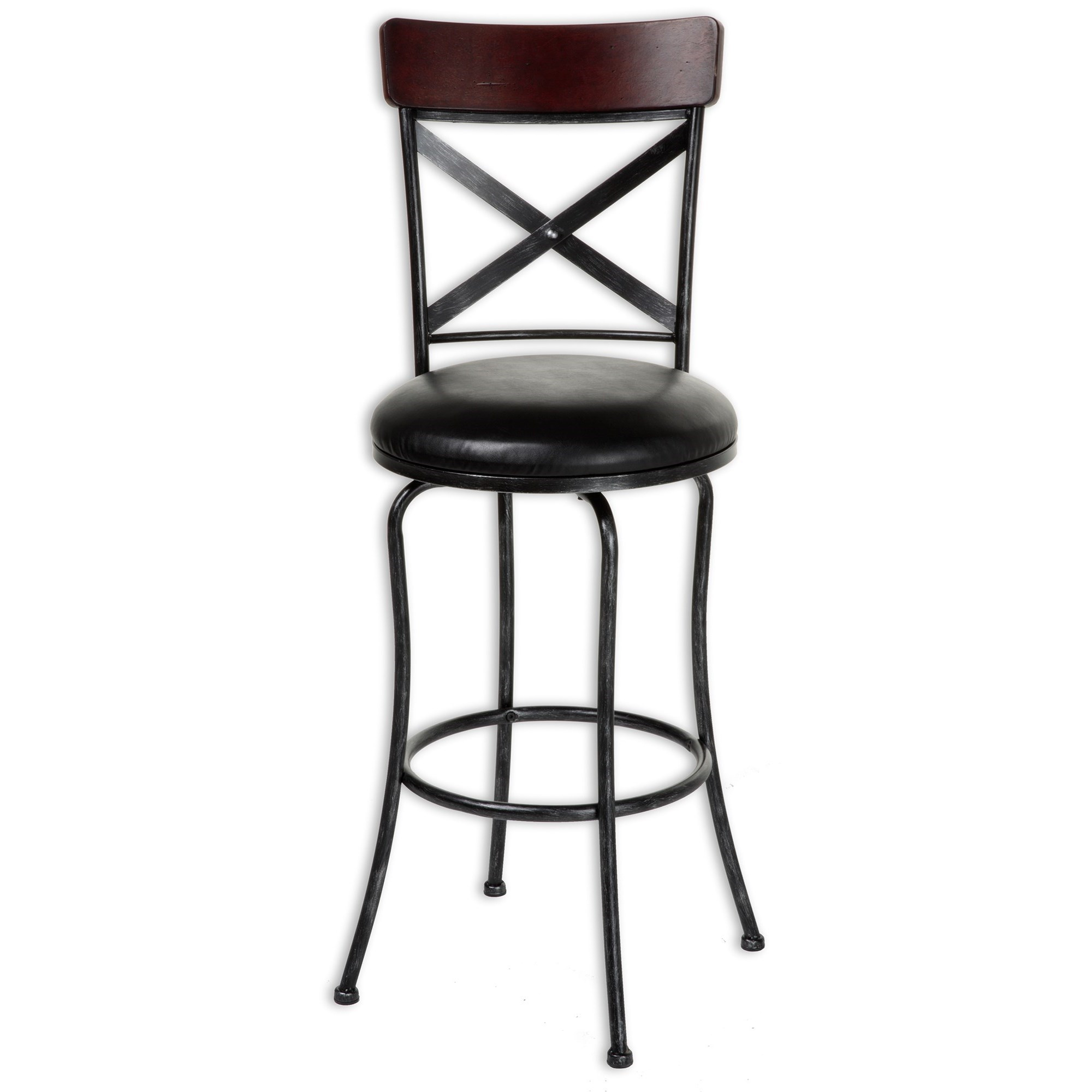 Transitional Austin Wood And Metal Barstool Metal