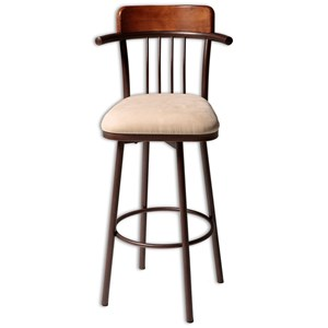 Morris Home Furnishings Metal Barstools Augusta Wood and Metal Barstool
